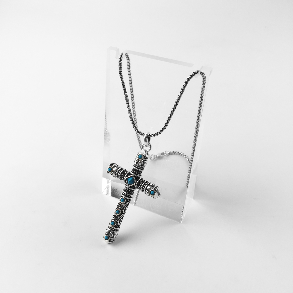 Blue Skull Cross Pendant And Necklace