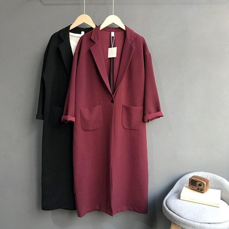 Solid Color Elegant   Trench   Coats for Women, Mid-Length Overcoat Windbreaker