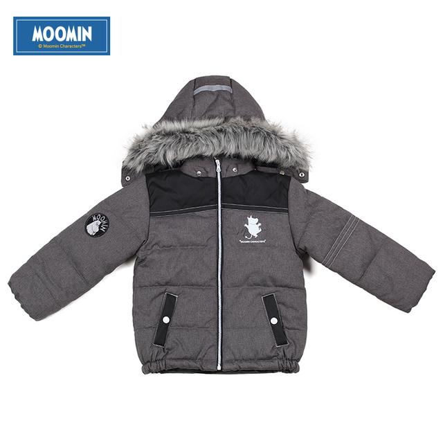 Meninos inverno jaqueta Moomin 2015 Nova Chegada Casual crianças Algodão Broadcloth crianças meninos casaco de inverno parkas Com Capuz Zipper Geométrica