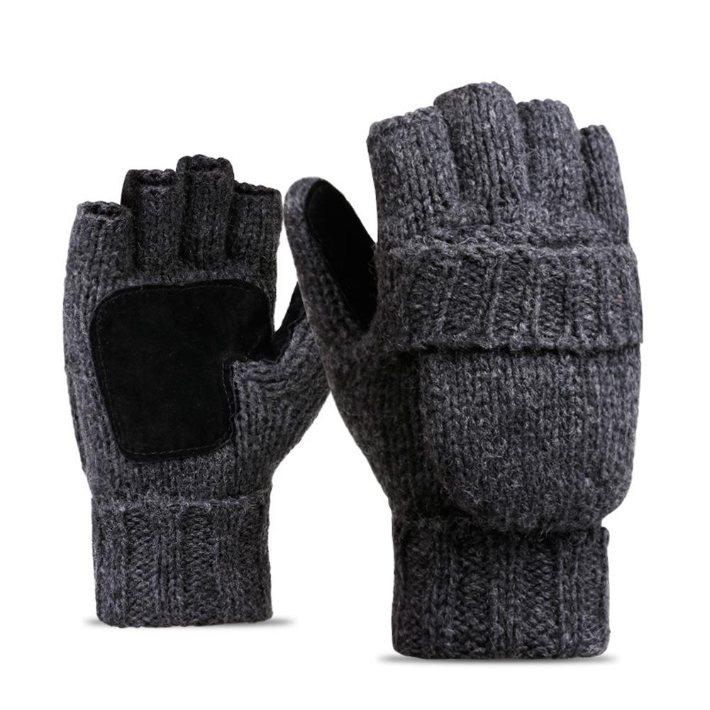 Winter Knitted Wool Touch Screen Gloves Men Women Warm Short Plush Lining Full Finger Sport Cycling Gloves Mittens Guantes New