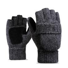 Зимние; вязанные; шерстяные перчатки с сенсорным экраном мужские и женские Теплые Короткие Плюшевые Подкладка Полный палец спортивные велосипедные перчатки варежки Guantes Новинка