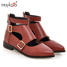 2017 New Fashion ankle strap pointed toe women flats buckle woman flat shoes cut-outs flats for ladies large size 34-43