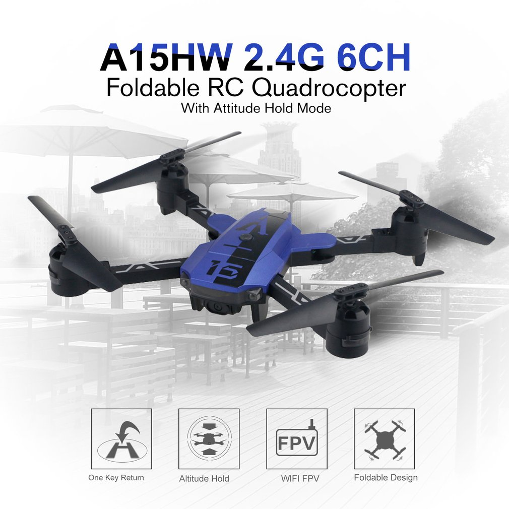 A15HW 2.4G 6CH Pocket Foldable RC Drone with 720P HD Wide Angle Camera Attitude Hold Mode Quadcopter Remote Control RTF ModelA15HW 2.4G 6CH Pocket Foldable RC Drone with 720P HD Wide Angle Camera Attitude Hold Mode Quadcopter Remote Control RTF Model