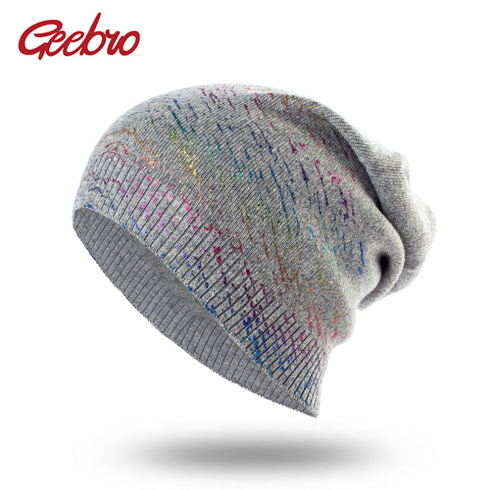 Geebro New Women's Bronzing Knit Cashmere   Beanies   Hat Casual Spring Wool Knitted Hats Ladies Metallic Color   Skullies     Beanie   Cap