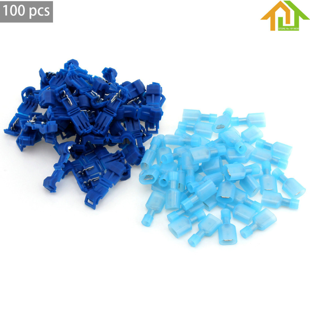 100Pcs Insulated T Tap Electrical Cable Connectors Quick Splice Wire Terminal Spade Crimp Connector 100pcs lot 4 8 male and female insulated terminal insert the plug sheathed wire terminal connector 0 2 1mm2