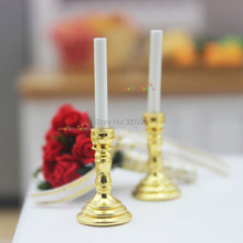 Dollhouse Miniature 1:12 Metal Candle Candlestick Candleholder for Barbie Blythe Living Room Accessory 2pc
