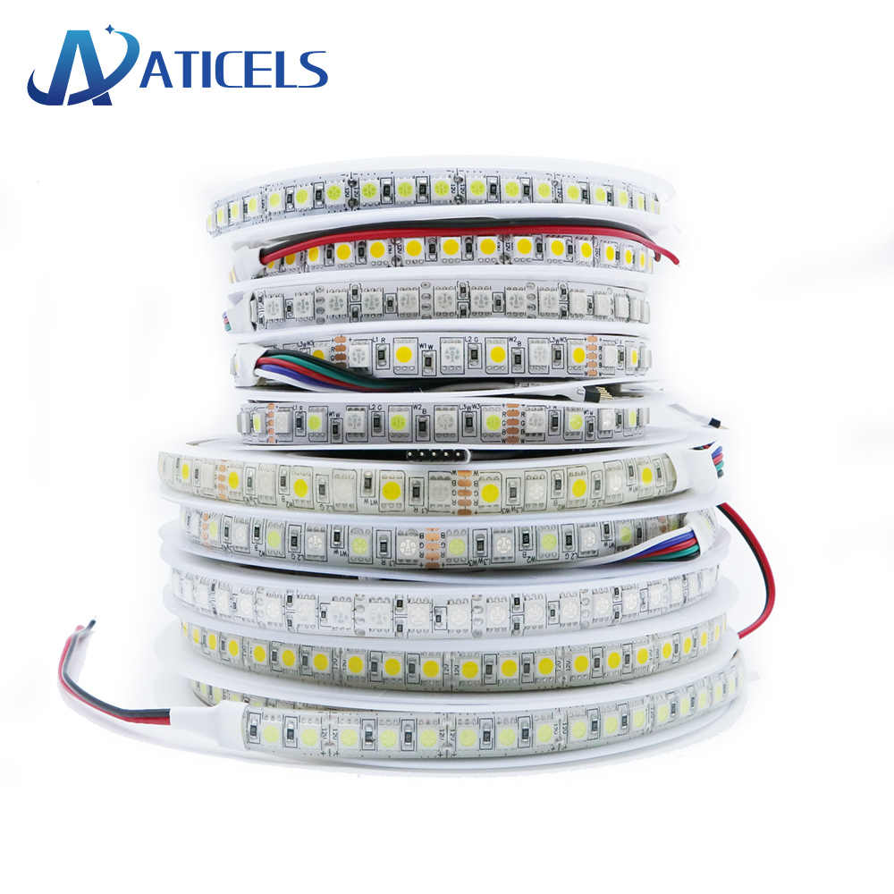 5M 600LED DC12V LED Strip SMD 5050 RGB RGBW Rgbww Fleksibel Lampu LED Ribbon Tape 60 LED/M, 120 Le DS/M Putih Hangat Putih