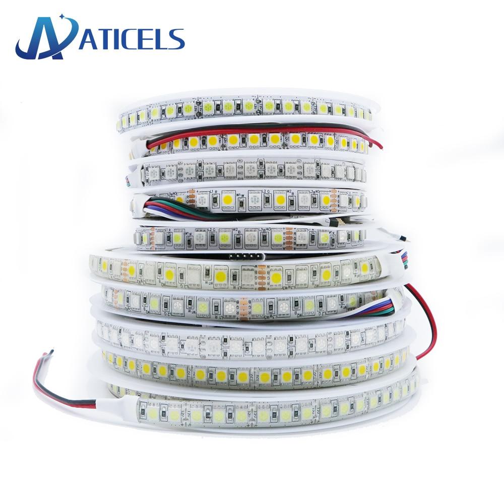 5M 600LED DC12V tira de LED SMD 5050 RGB RGBW RGBWW Flexible cintas de luz led cinta 60LEDs/m 120LEDs/m blanco cálido blanco