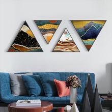 Modern minimalist suburban night shaped living room decorative painting Abstract line sofa background wall with frame