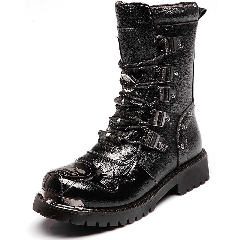Армейские ботинки; мужские военные ботинки; коллекция 2019 года; кожаные зимние черные ковбойские ботинки в готическом стиле; ботинки в стиле панк; Мужская обувь; Ботинки martin в байкерском стиле