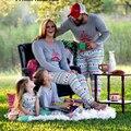 Рождество Семья Пижамы Пижамы Женщины Мужчины Малыш Пижама Хлопок Полосатый Наряды