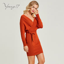 Young17 sweater knitted mini dress v neck plain sashe sexy club backless lace up women elegant