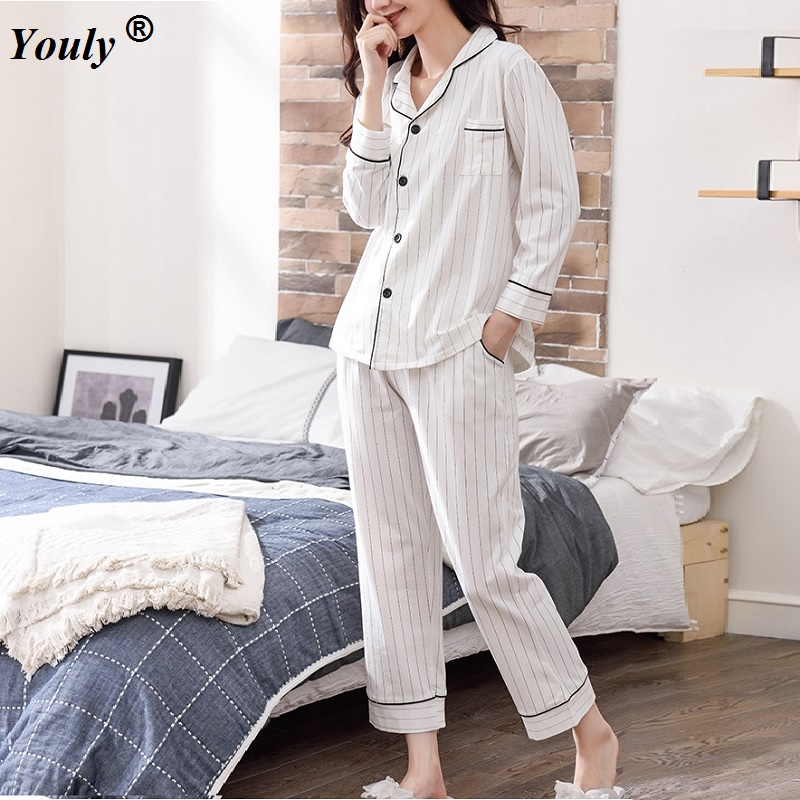 White Striped Pajamas Sets Women 2019 Casual Cotton Long Sleeve Sleepwear Suit 2 Piece Sexy Spring Homewear Lounge Pants Suits