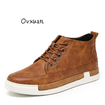 Ovxuan Italian Formal Dress Shoes Genuine Leather Handmade Luxury Brand Casual Brogue Men Shoes Big Size High Top Men Loafers