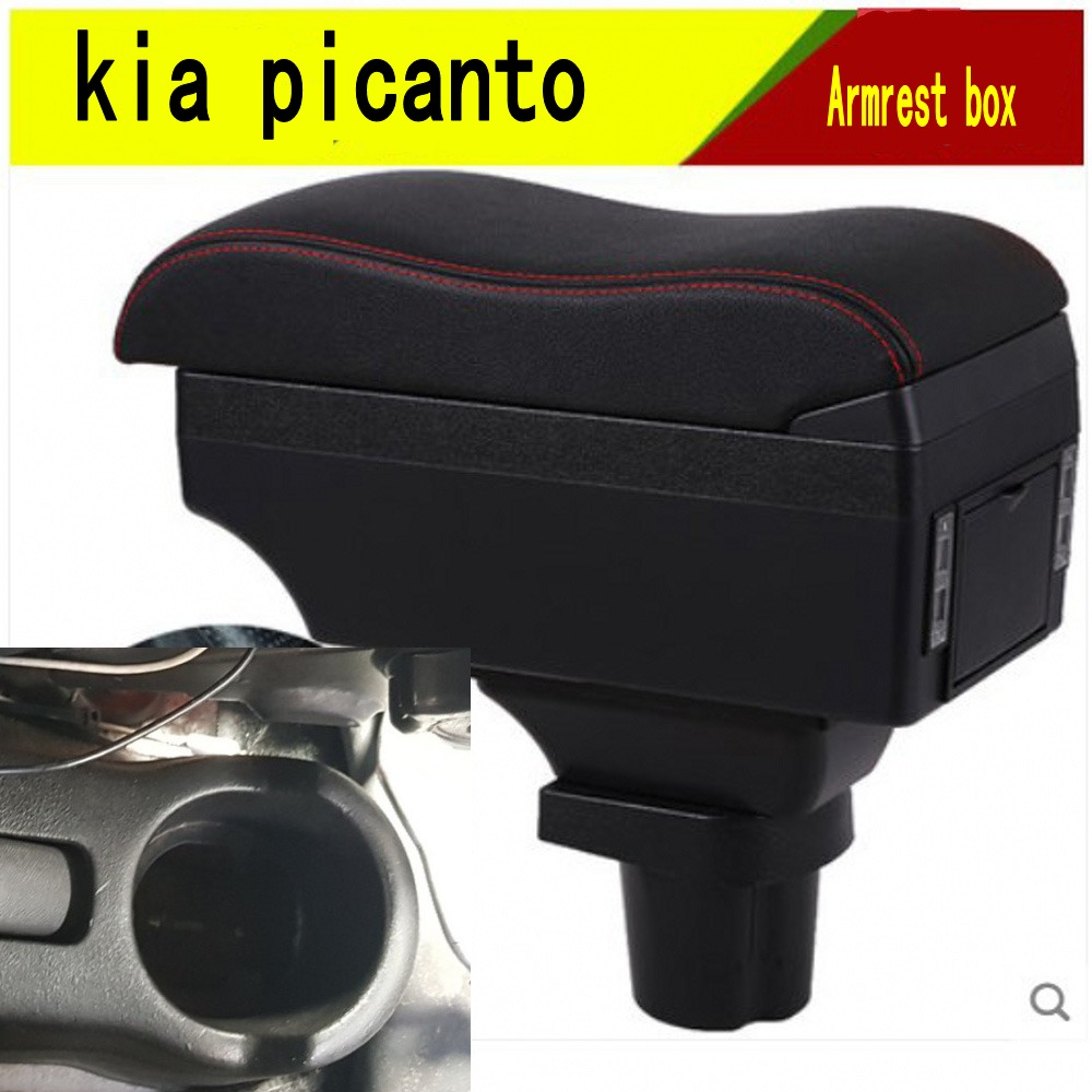For kia picanto armrest box central Store content Storage box with cup holder USB interface phone holder