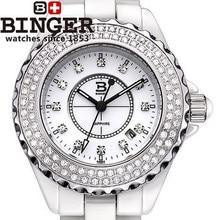 2016 top brand Бингер белые Керамические часы водонепроницаемые кварцевые мужчины женщины люкс полный диаманта CZ часы Логотип имя наручные часы
