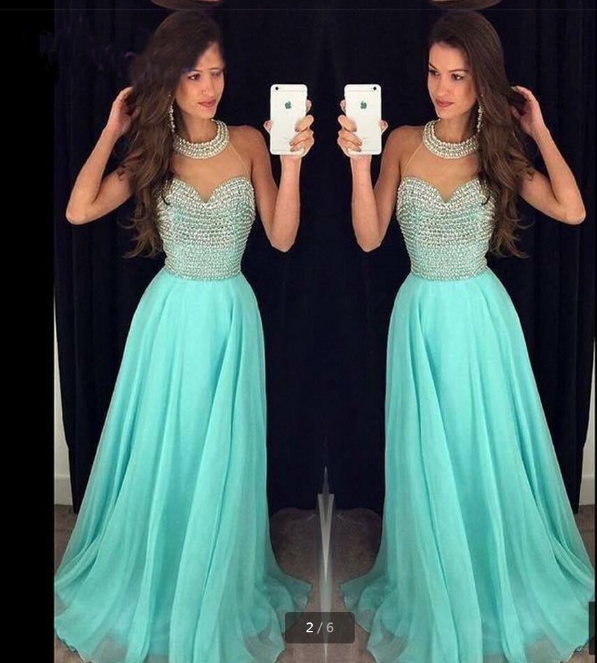 Strass de luxe perles licou robes de soirée a-ligne en mousseline de soie sur mesure robes de soirée vestidos de formatura