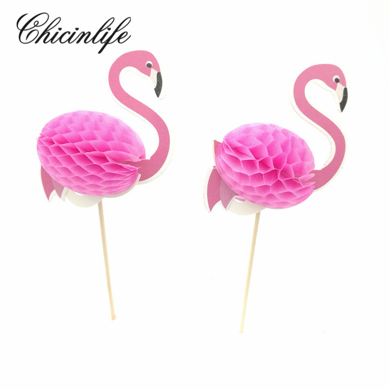 Chicinlife 2Pcs/bag 3D Flamingos wedding Cake Cupcake Topper Birthday Baby bridal Shower Pool ALOHA Party Decoration Supplies
