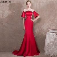 JaneVini очаровательные Красные Длинные свадебные платья русалки с круглым вырезом и вышивкой бисером торжественные платья для выпускного отв