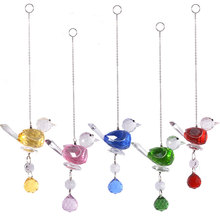 Crystal Glass Bird Suncatcher For Window Animal Figurines Ornaments Yard Garden Car Hanging Pendant Home Wedding Decor Xmas Gift