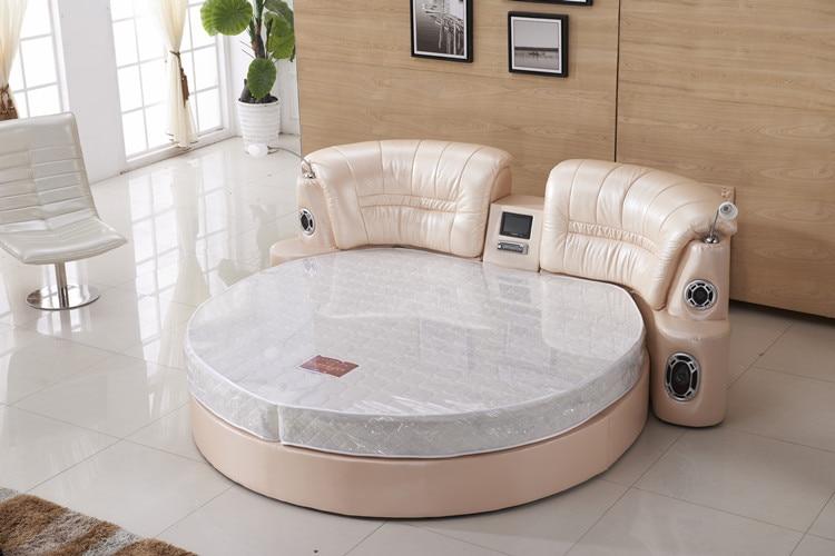 Genuine leather bed frame Soft Bed Home Bedroom massage speaker system LED camas lit muebles de dormitorio yatak mobilya quarto