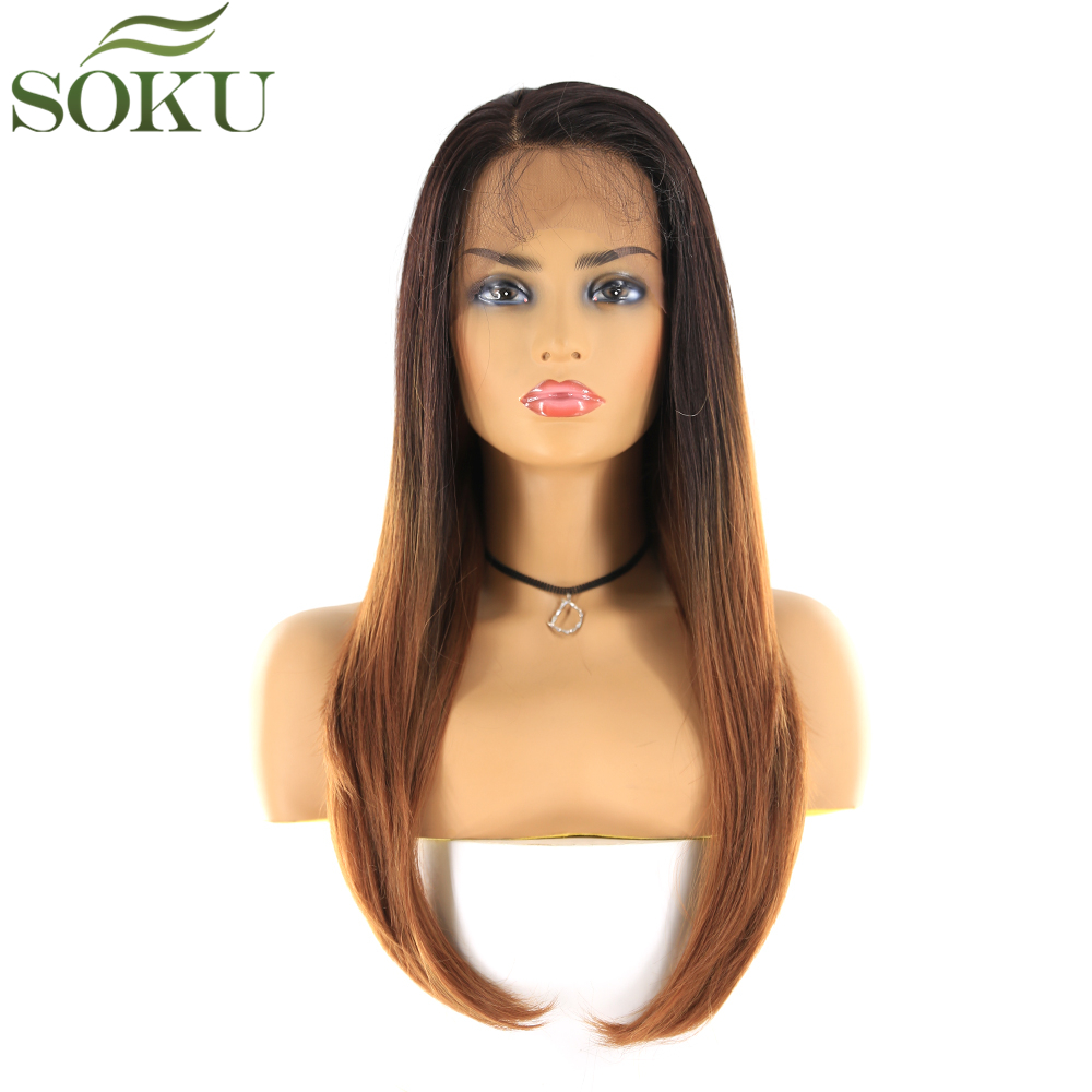 SOKU Synthetic 13*4 Lace Front Wigs 24 Inch Dark Root Brown Color Long Straight Wig Heat Resistant Fiber Wig For Women