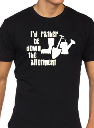 i/'d rather be down the allotment t shirt mens funny gardiner gift present