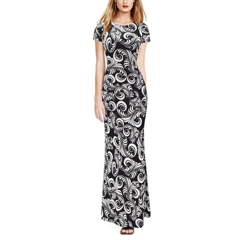 Nuevo 2017 vestido de verano de las mujeres elegantes de la vendimia imprimir dr