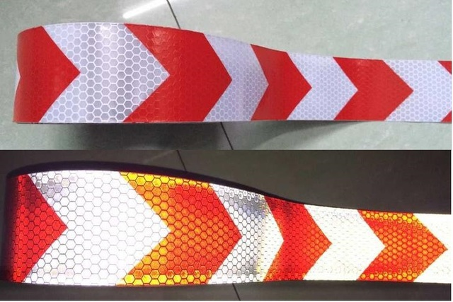 5cm*45M white reflective tape red arrow guide sign Reflective adhesive tape,Reflective tape sticker for Truck,Car,Motorcycle