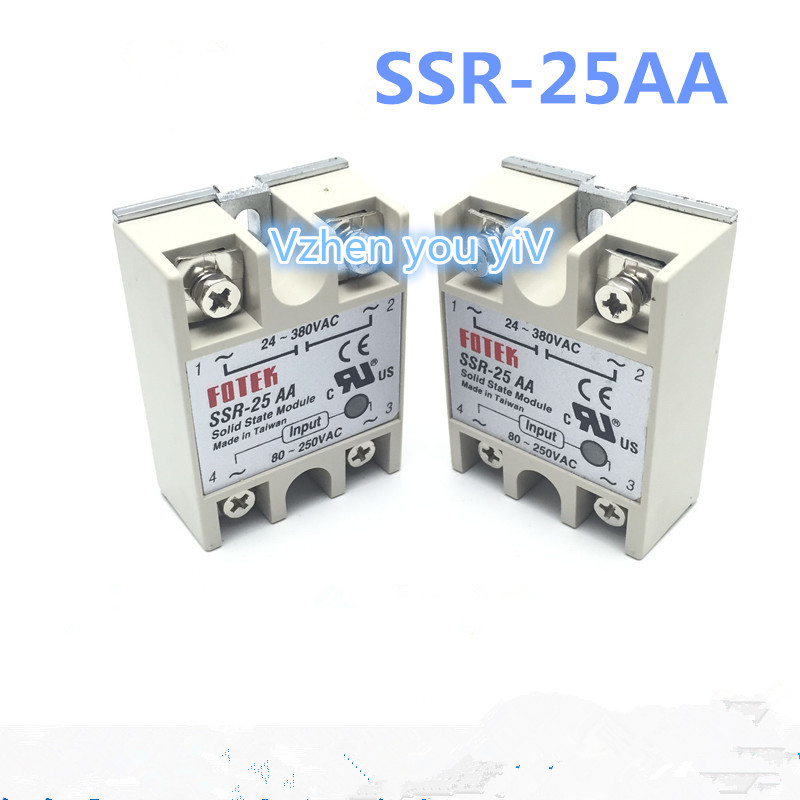 Promotion//1 pcs FOTEK TYPE SSR-25AA Manufacturer 25A ssr solid relay,output 24-380VAC input 80-250VAC good quality SSR 25AA 25A 1pc ssr 50 da ssr 50da manufacturer 50a ssr relay input 3 32vdc output 24 380vac good quality with plastic cover wholesale hot