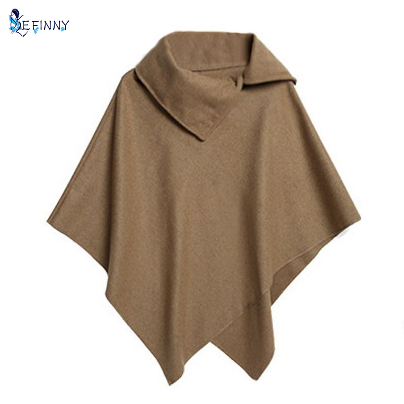 Women Batwing Cloak Coat Winter Irregular Jacket Loose Cloak Cape Parka