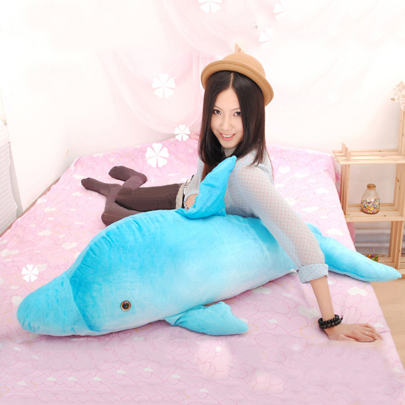 Plush Marine Animal Dolphin Sea Dolls Blue Dolphin Stuffed Animal Toys Best Gifts for Kids Girls Home 90*38cm commercial sea inflatable blue water slide with pool and arch for kids