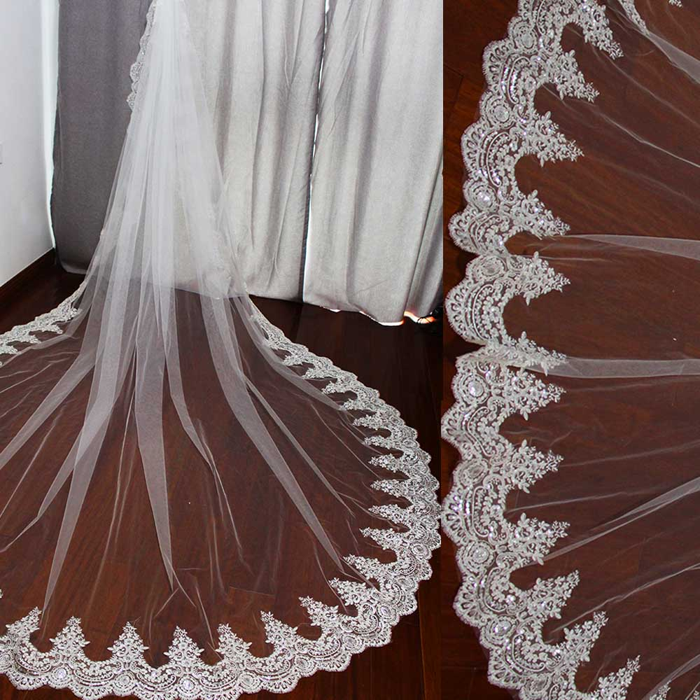 Real Photos 3 Meters Long Wedding Veil with Comb One Layer Luxury Bling Sequins Cathedral Bridal Veil High Quality Accessories