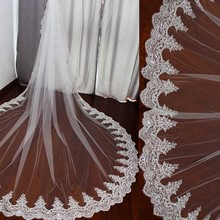 Real Photos 3 Meters Long Wedding Veil with Comb One Layer Luxury Bling Sequins Cathedral Bridal Veil High Quality Accessories real photos sparkly sequins lace 3 meters wedding veil with comb one layer 3 m white ivory bridal veil velo 2019