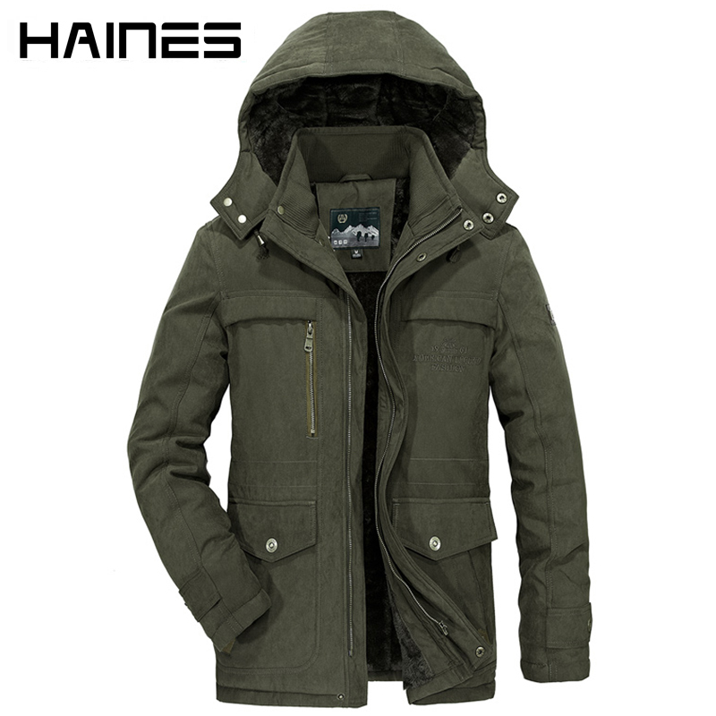 HAINES 2018 Winter Jacket Men Hooded Windproof Tactical Military Man Jacket Thicken Warm Windbreaker Jackets casaco masculino