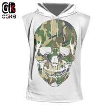 OGKB New Summer Cool Tank Top With Hooded Print Camouflage Skull 3d Cap Vest For Women/men Hiphop Tracksuits Sleeveless Hoodies(China)