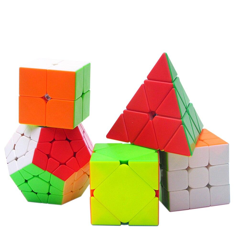 5 pièces/ensemble coloré brochette Megaminx 2x2x2 3x3x3 Cube magique Puzzle jouets Speed ZCUBE's Cubes 3*3*3 sur 3 Triangle 2*2*2