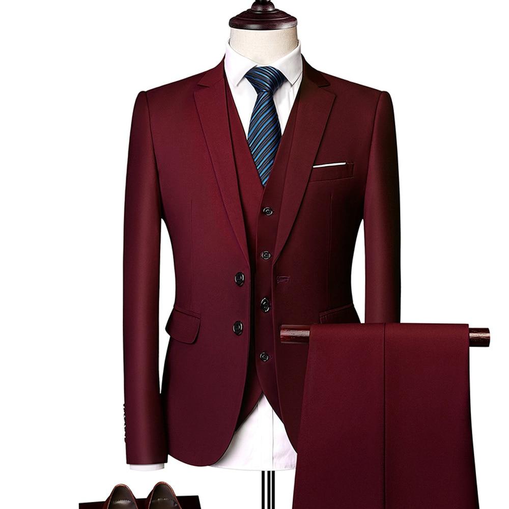 Wonderful Green Groom Wedding Men Suit Slim Fit Tuxedo Men Formal Business Work Wear Suits Jacket Pants Vest Terno Masculino in Suits from Men 39 s Clothing