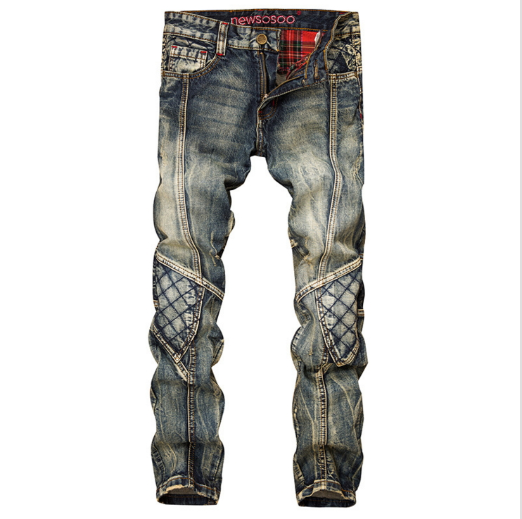 Men's casual holes ripped biker jeans Large siza slim stretch denim pencil pants Motorcycle long trousers  in men's jeans J007