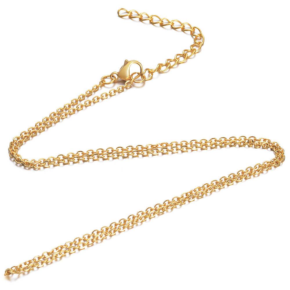 10 sztuk/partia naszyjniki ze stali nierdzewnej złoty kolor 1.6mm mężczyźni kobiety krzyż łańcuch naszyjnik diy tworzenia biżuterii akcesoria 40/45cm