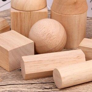 Image 3 - 12/15 pièces couleur bois géométrie combinaison aides pédagogiques enfants éducation précoce blocs de construction 3D jouets éducatifs