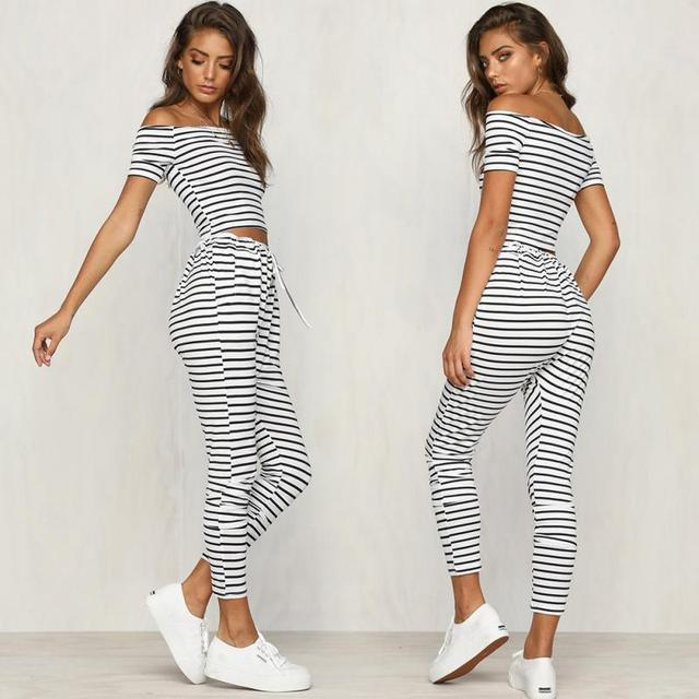 918f9e974eef Womens Off Shoulder Striped Co Ord Set Crop Top BLouse Lace Up Summer Slim  Suit