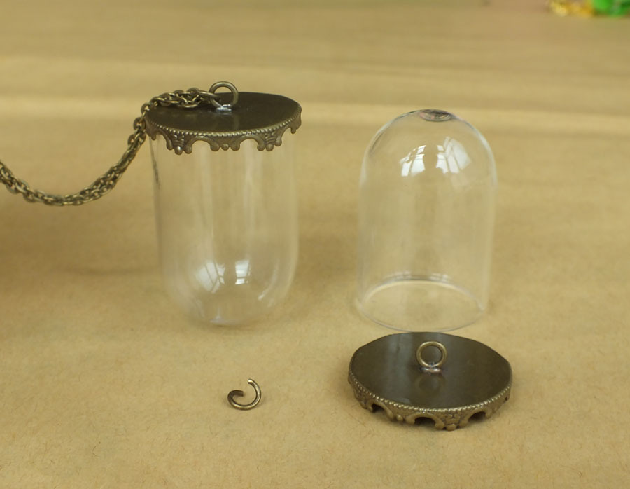 38 25mm Bronze Hanging Cloche Dome Necklace Clear Glass Bottle