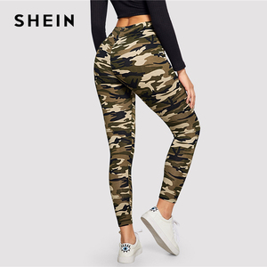 Image 2 - SHEIN Camo Print Leggings Women Leggings 2019 Casual Style Spring Summer Autumn Stretchy Fitness Crop Leggings