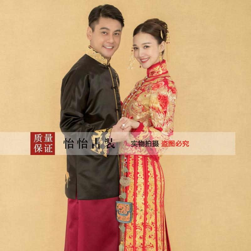 Asian style bride and groom suit lovers Red and Black costume wear Oversea chinese style dragon gown Long Robe married kimono in Cheongsams from Novelty Special Use