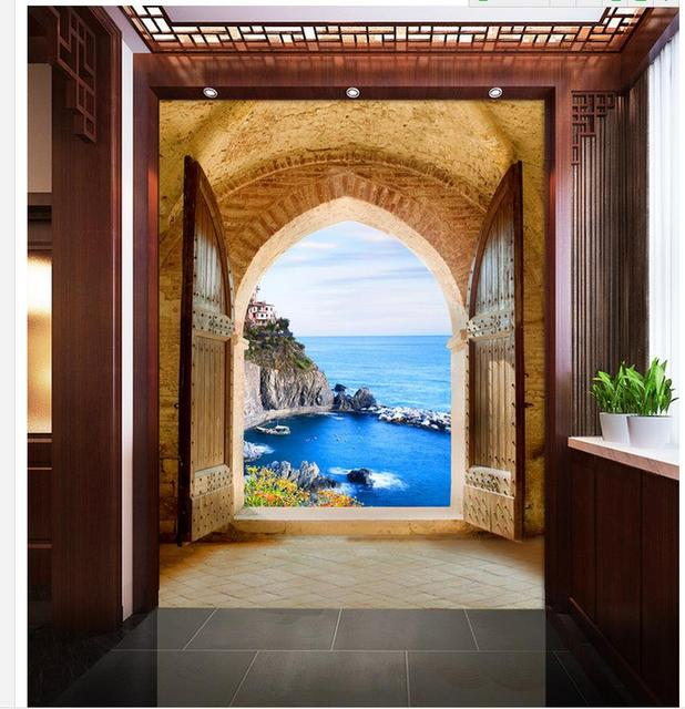 Fantasy landscape fishing village 3d entrance aisle for Wallpaper for home entrance