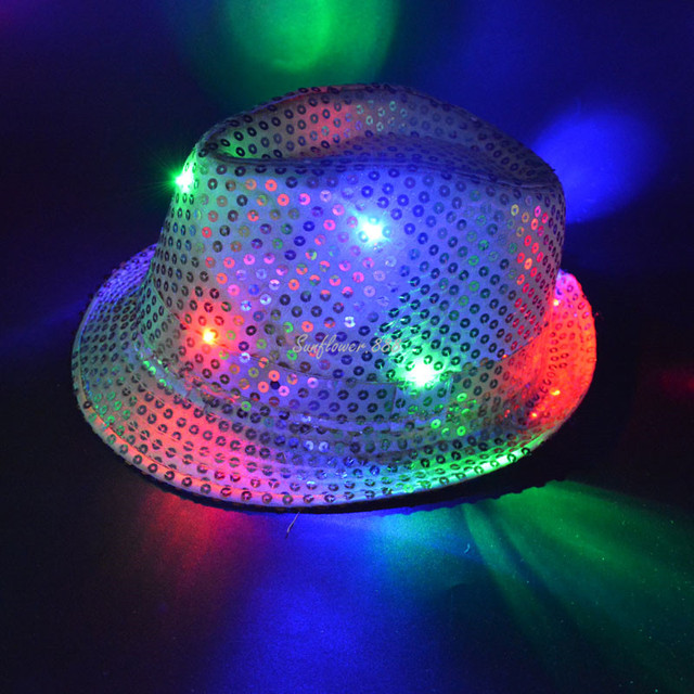 60b8a0a0128ad New Women Men Adult LED Lighting Flash Fedora Hat Cap Wedding Show Dance  Bling Sequins Jazz Hats Party Halloween