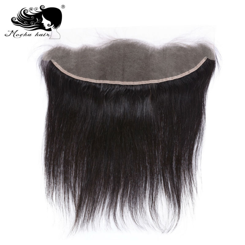 Mocha Hair 13*4 Lace Frontal Closure  Brazilian Virgin Straight Hair Bleached Knot 100% Human Hair