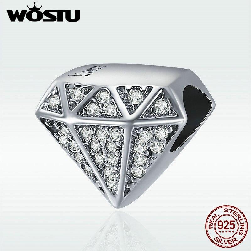 WOSTU Authentic 925 Sterling Silver Luxury Geometric Shape Clear CZ Beads fit Original Charm Bracelet Fine jewelry S925 DXC397