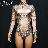 2019 Colorful Rhinestones Bodysuit Mesh Crystals Dress Costume Jazz DJ Show Wear Women Dancer Stage Performance Wear